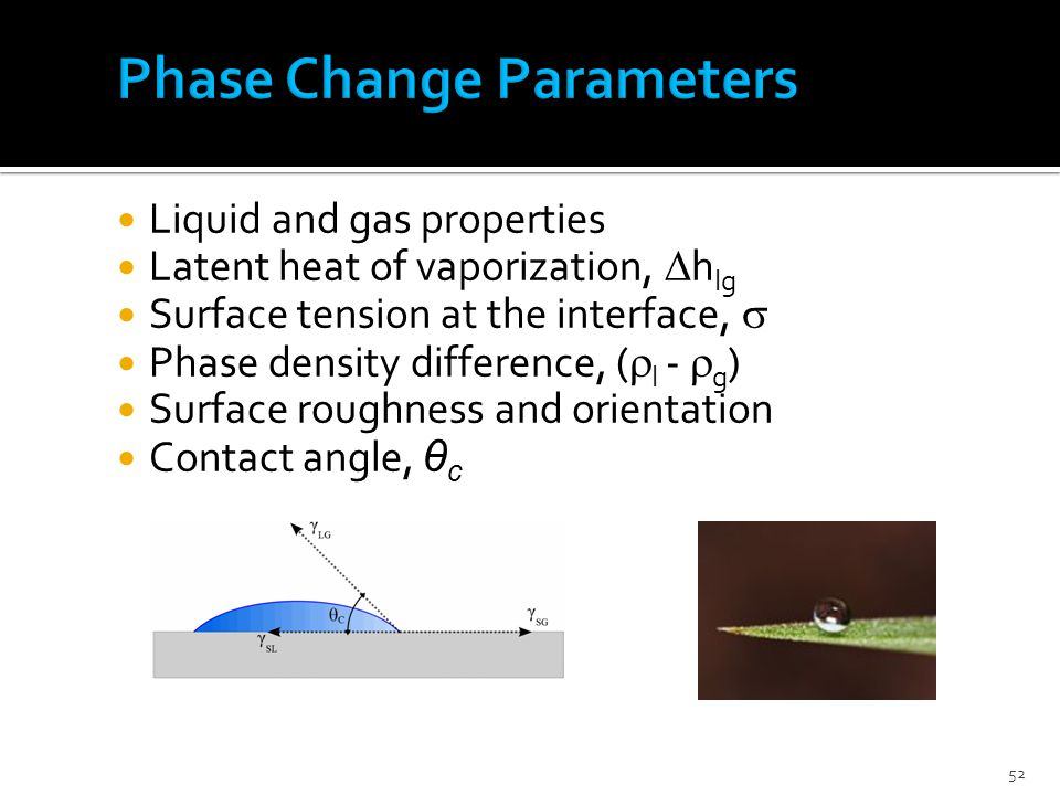 52 Liquid and gas properties Latent heat of vaporization,  h lg Surface tension at the interface,  Phase density difference, (  l -  g ) Surface