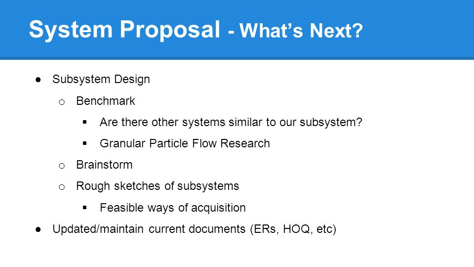 System Proposal - What's Next.