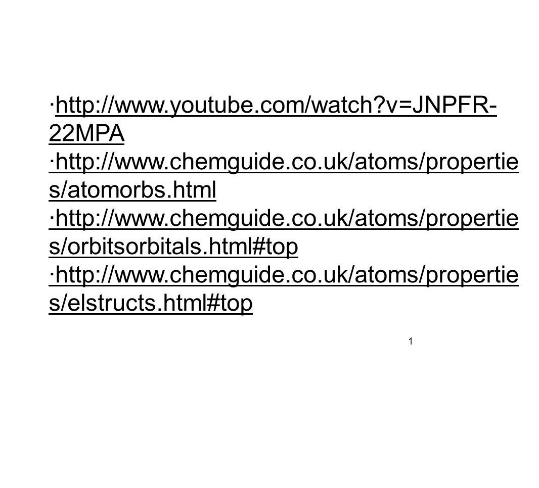 ·http://www.youtube.com/watch v=JNPFR- 22MPA ·http://www.chemguide.co.uk/atoms/propertie s/atomorbs.html ·http://www.chemguide.co.uk/atoms/propertie s/orbitsorbitals.html#top ·http://www.chemguide.co.uk/atoms/propertie s/elstructs.html#top 1