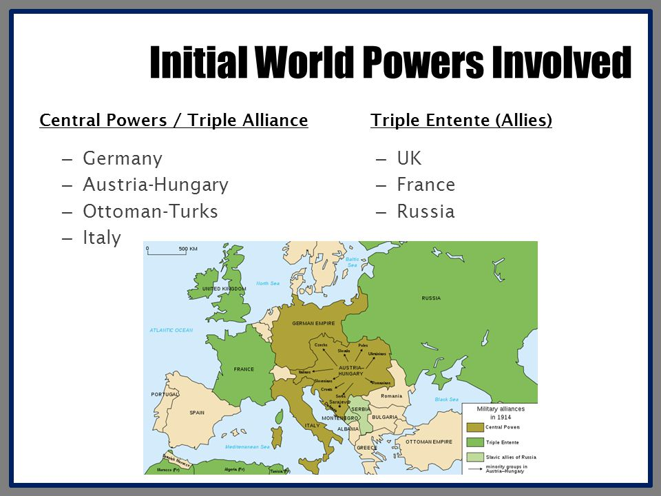 Initial World Powers Involved – Germany – Austria-Hungary – Ottoman-Turks – Italy – UK – France – Russia Central Powers / Triple AllianceTriple Entente (Allies)