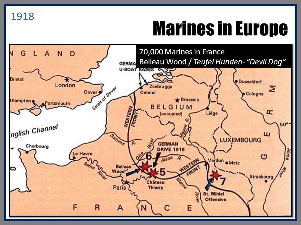 Marines in Europe 1918 70,000 Marines in France Belleau Wood / Teufel Hunden- Devil Dog