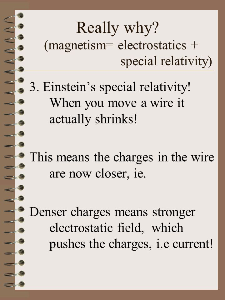 Really why.(magnetism= electrostatics + special relativity) 3.