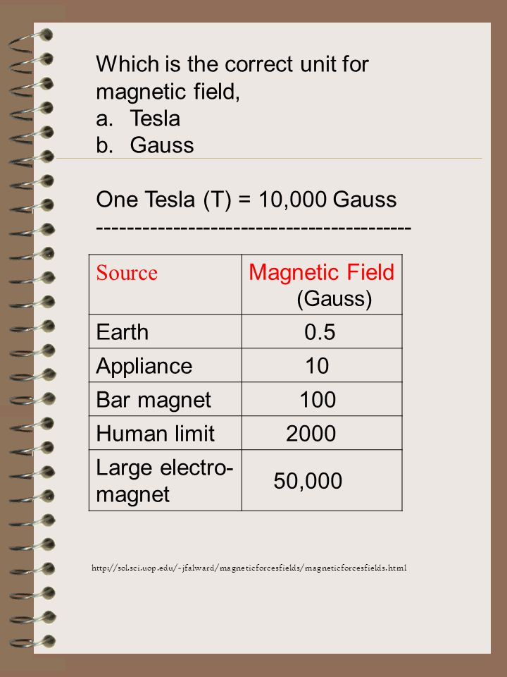 Which is the correct unit for magnetic field, a.Tesla b.Gauss One Tesla (T) = 10,000 Gauss ------------------------------------------ Source Magnetic Field (Gauss) Earth 0.5 Appliance 10 Bar magnet 100 Human limit 2000 Large electro- magnet 50,000 http://sol.sci.uop.edu/~jfalward/magneticforcesfields/magneticforcesfields.html
