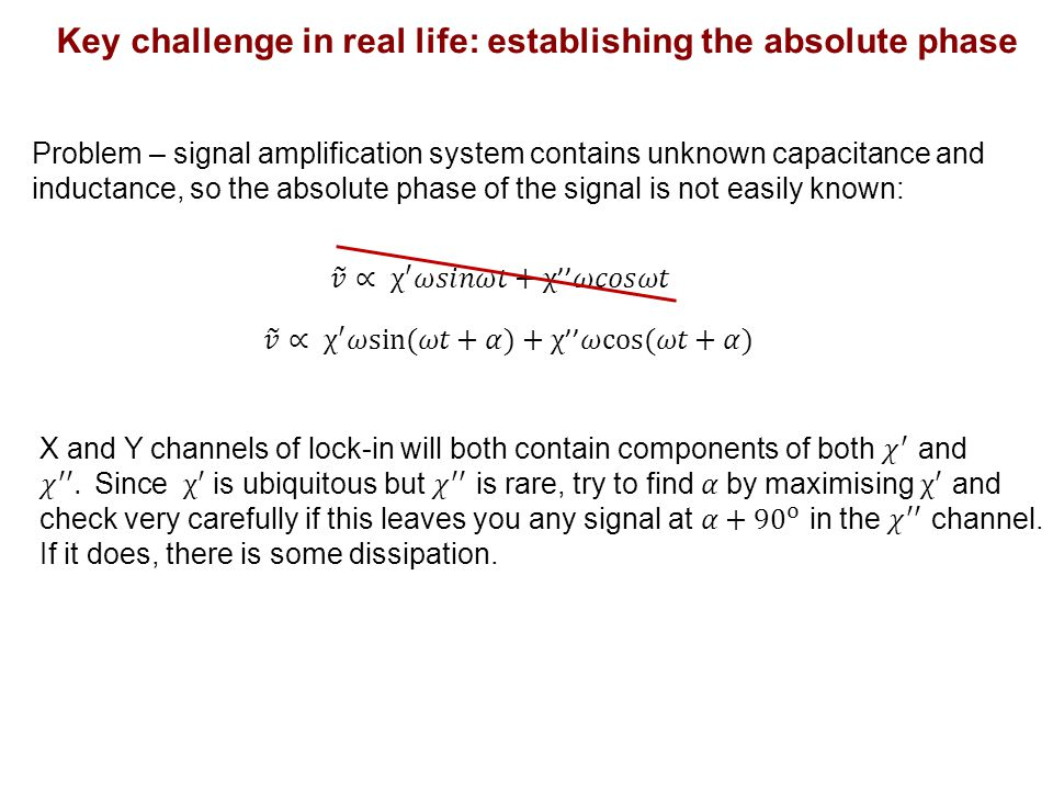 Problem – signal amplification system contains unknown capacitance and inductance, so the absolute phase of the signal is not easily known: Key challenge in real life: establishing the absolute phase