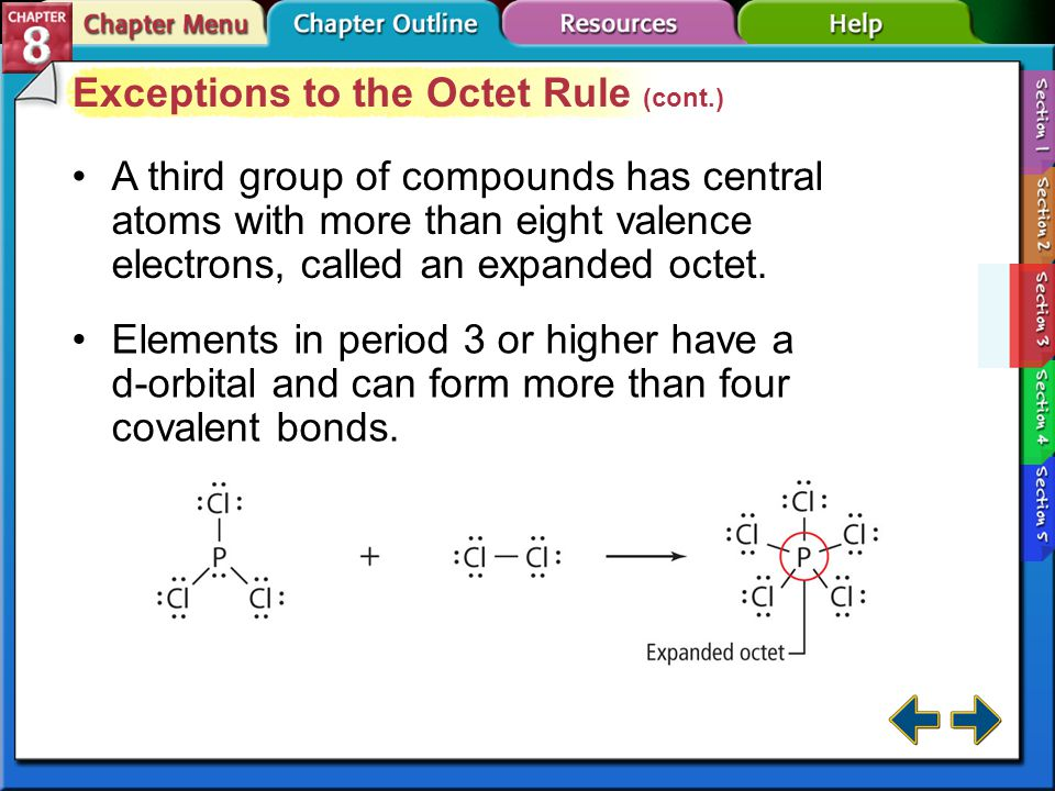 Section 8-3 Exceptions to the Octet Rule (cont.) A few compounds form stable configurations with less than 8 electrons around the atom—a suboctet. A c