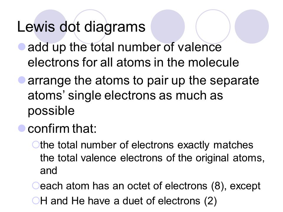 Lewis dot diagrams add up the total number of valence electrons for all atoms in the molecule arrange the atoms to pair up the separate atoms' single