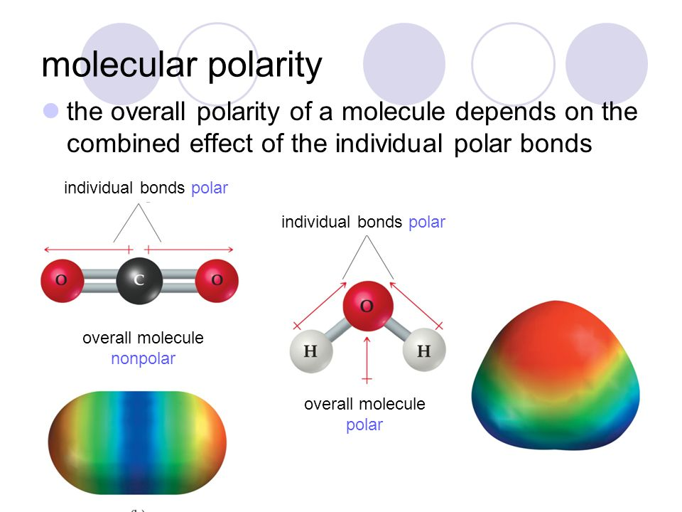 molecular polarity the overall polarity of a molecule depends on the combined effect of the individual polar bonds individual bonds polar overall mole