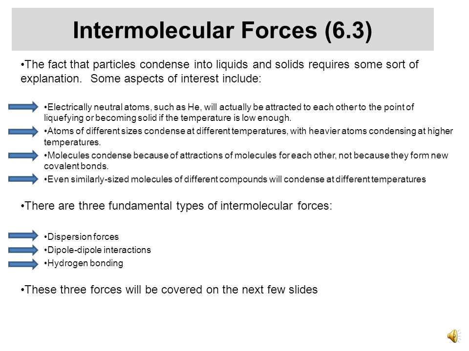 Unit 22 Forces Between Molecules and in Solution Three types of Intermolecular Forces (6.3) Forces in Solution (6.4)