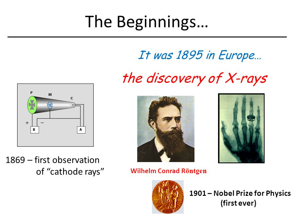 The Beginnings… It was 1895 in Europe… the discovery of X-rays 1869 – first observation of cathode rays Wilhelm Conrad R öntgen 1901 – Nobel Prize for Physics (first ever)