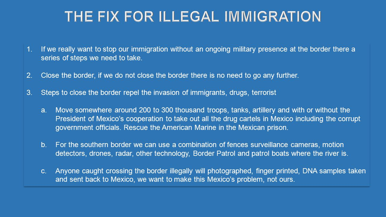 1.If we really want to stop our immigration without an ongoing military presence at the border there a series of steps we need to take.