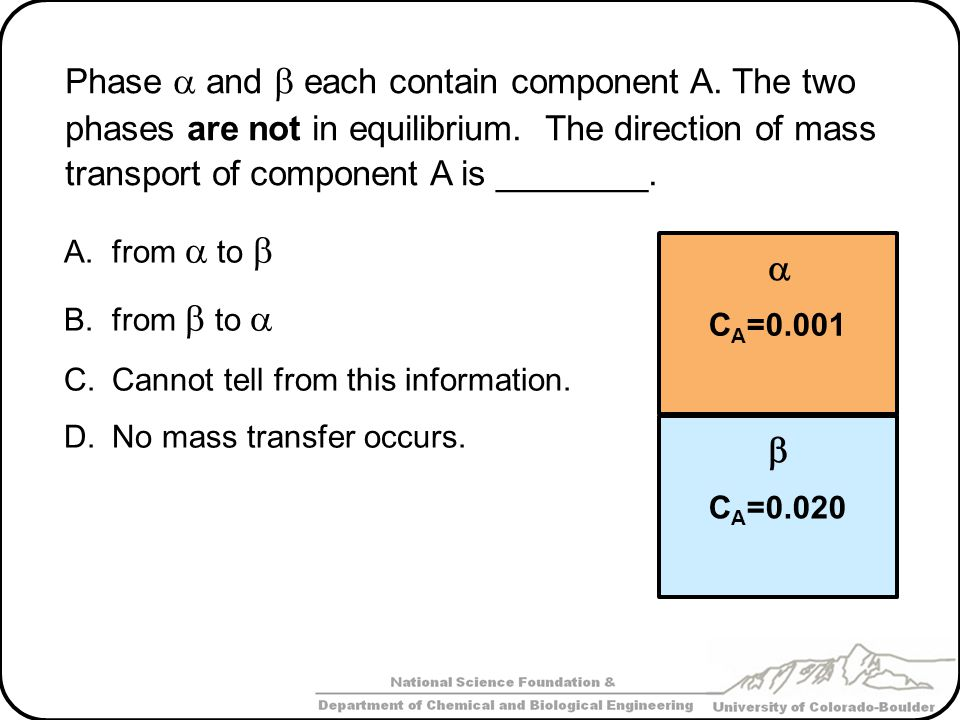 Phase  and  each contain component A. The two phases are not in equilibrium. The direction of mass transport of component A is ________. A.from  to