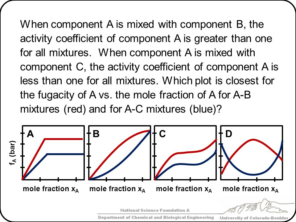 When component A is mixed with component B, the activity coefficient of component A is greater than one for all mixtures. When component A is mixed wi