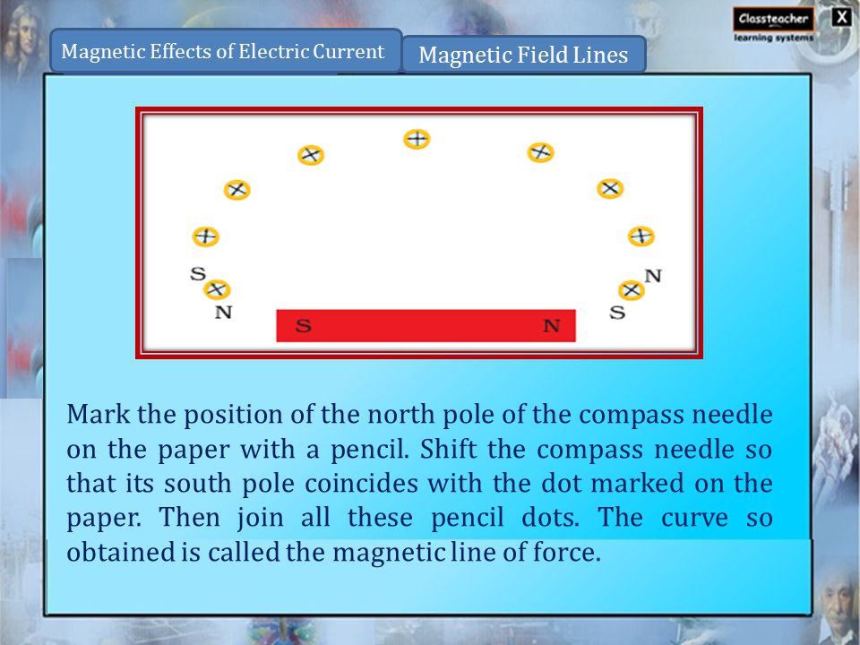 Mark the position of the north pole of the compass needle on the paper with a pencil.