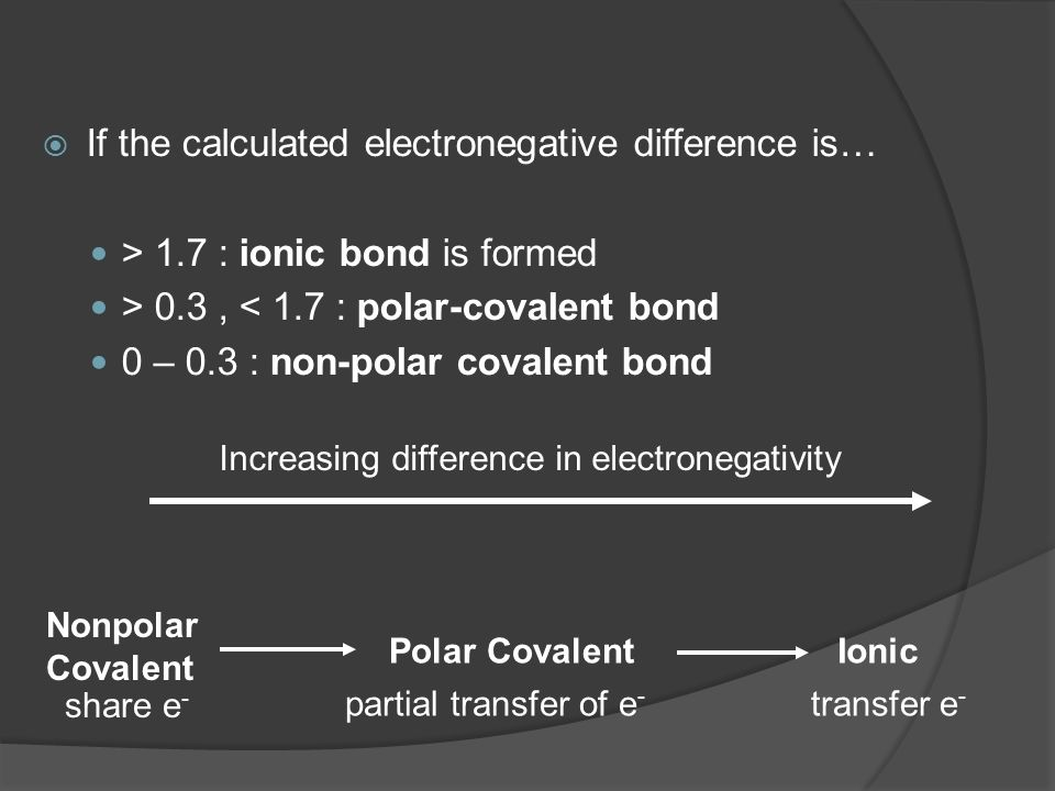  If the calculated electronegative difference is… > 1.7 : ionic bond is formed > 0.3, < 1.7 : polar-covalent bond 0 – 0.3 : non-polar covalent bond I