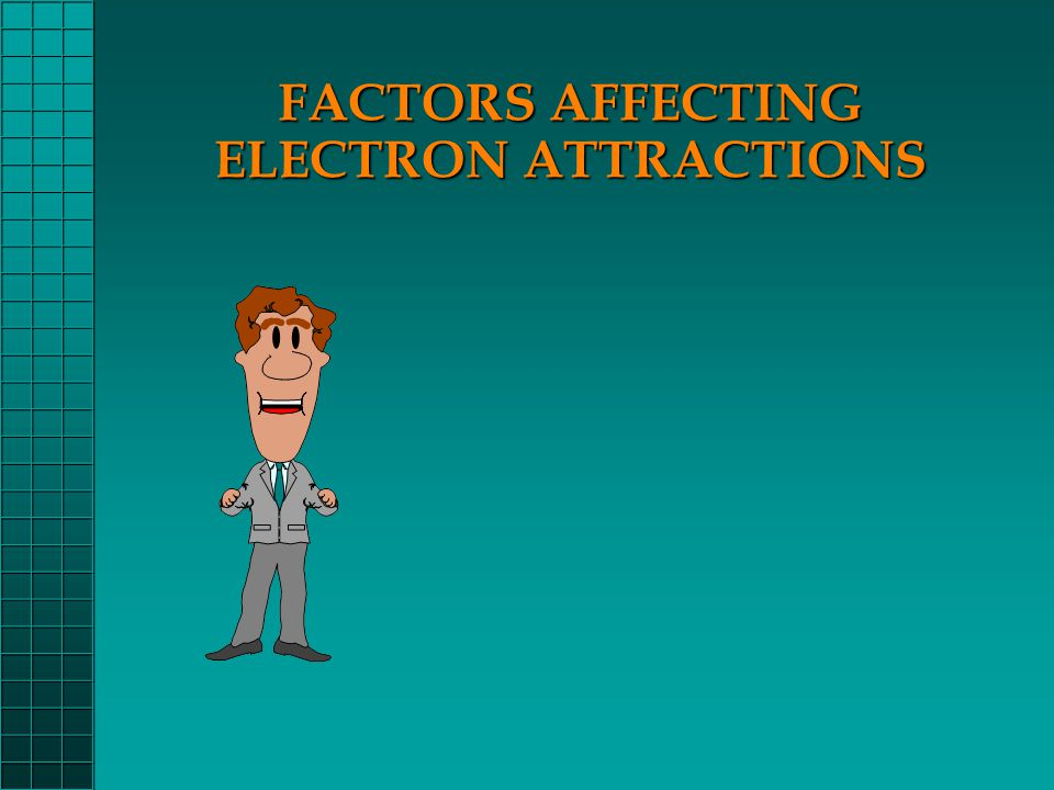 WAYS OF MEASURING ELECTRON ATTRACTION There are three ways to measure an atom's attraction for its electrons: IONIZATION ENERGYIONIZATION ENERGY ELECTRON AFFINITYELECTRON AFFINITY ELECTRONEGATIVITYELECTRONEGATIVITY