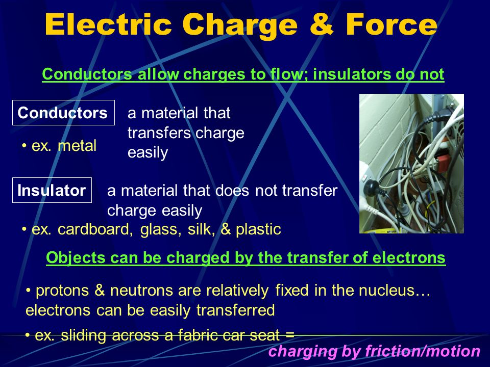 Electric Charge & Force An object's electric charge depends on the imbalance of its protons & electrons objects are made up of an enormous number of neutrons, protons, and electrons whenever there is an imbalance in the number of protons & electrons in an atom, molecule, etc.