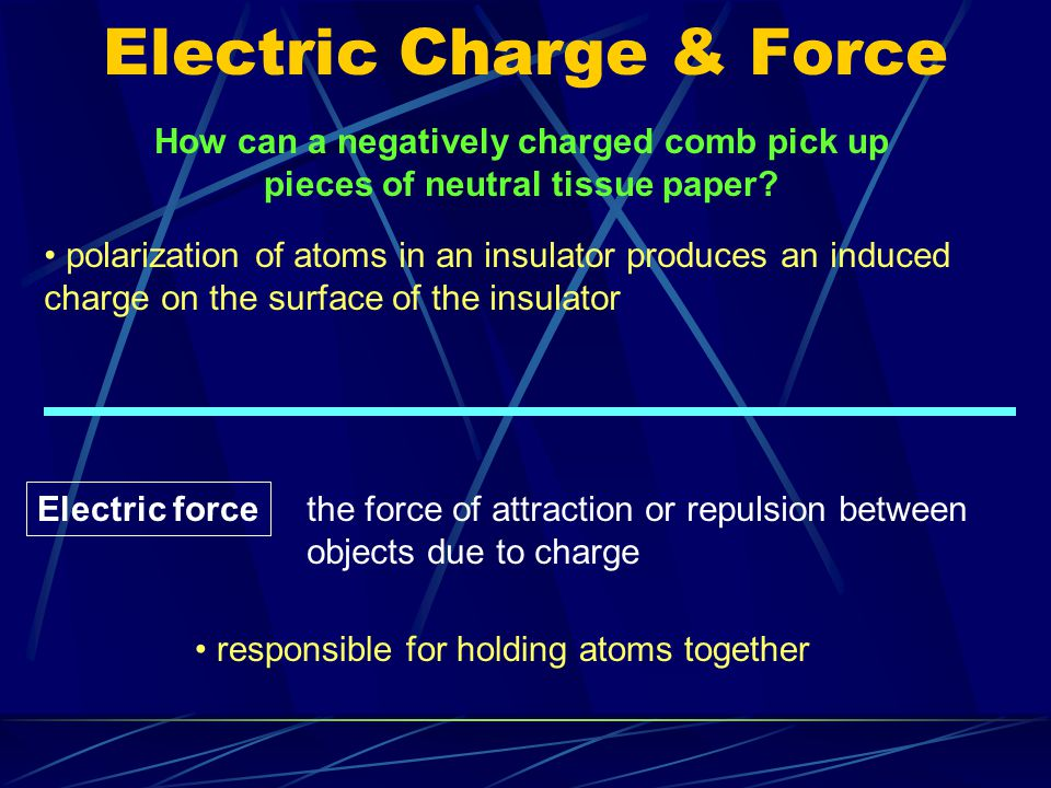 Electric Charge & Force objects can also be charged without friction ex.
