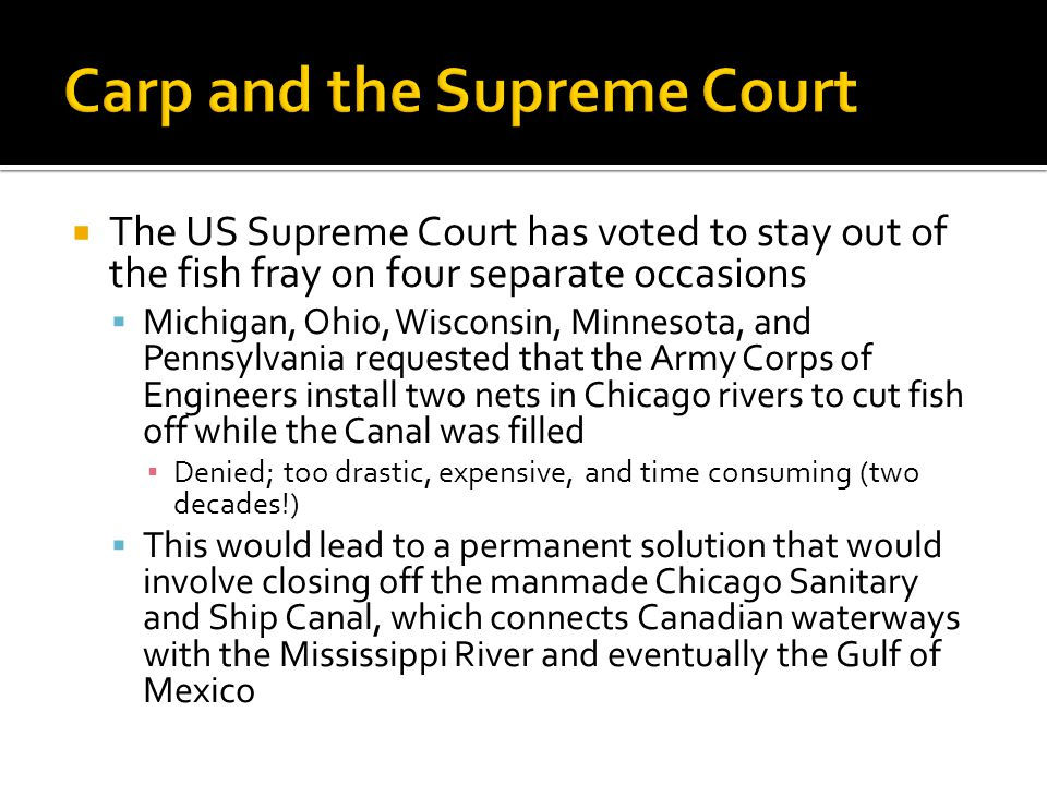  The US Supreme Court has voted to stay out of the fish fray on four separate occasions  Michigan, Ohio, Wisconsin, Minnesota, and Pennsylvania requested that the Army Corps of Engineers install two nets in Chicago rivers to cut fish off while the Canal was filled ▪ Denied; too drastic, expensive, and time consuming (two decades!)  This would lead to a permanent solution that would involve closing off the manmade Chicago Sanitary and Ship Canal, which connects Canadian waterways with the Mississippi River and eventually the Gulf of Mexico