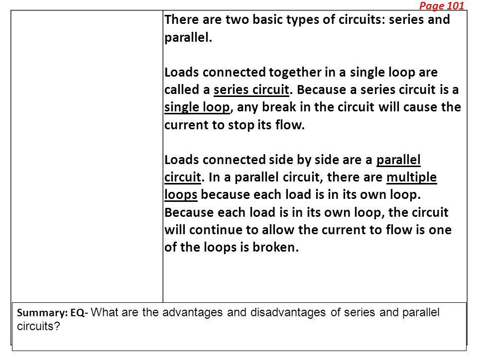 Page 101 There are two basic types of circuits: series and parallel.