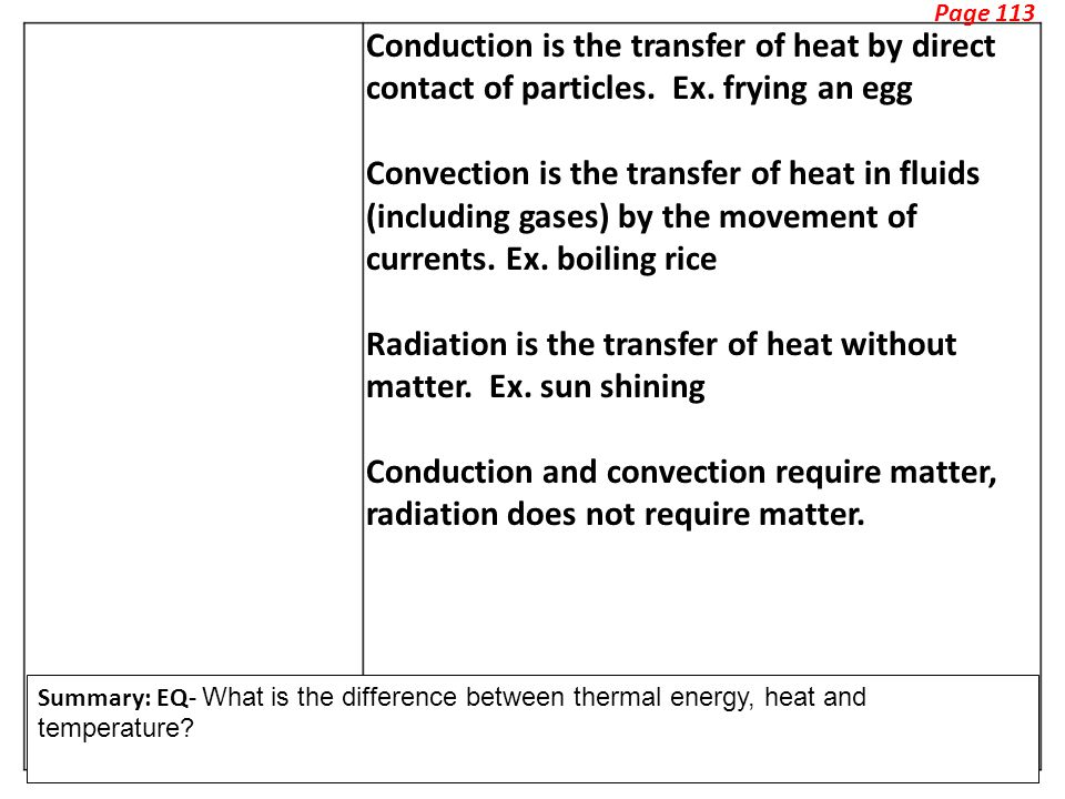 Page 113 Conduction is the transfer of heat by direct contact of particles.