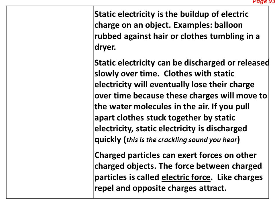 Page 93 Static electricity is the buildup of electric charge on an object.