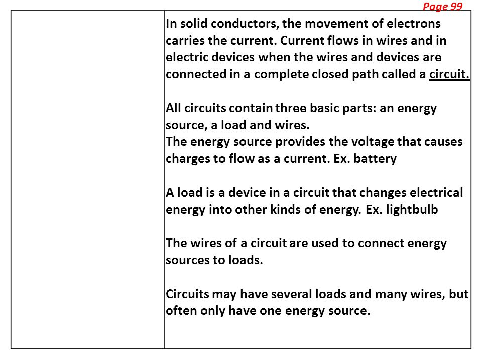 Page 99 In solid conductors, the movement of electrons carries the current.
