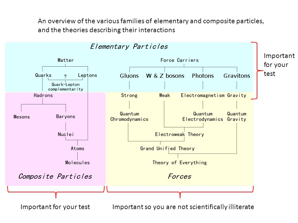 An overview of the various families of elementary and composite particles, and the theories describing their interactions Important for your testImportant so you are not scientifically illiterate Important for your test