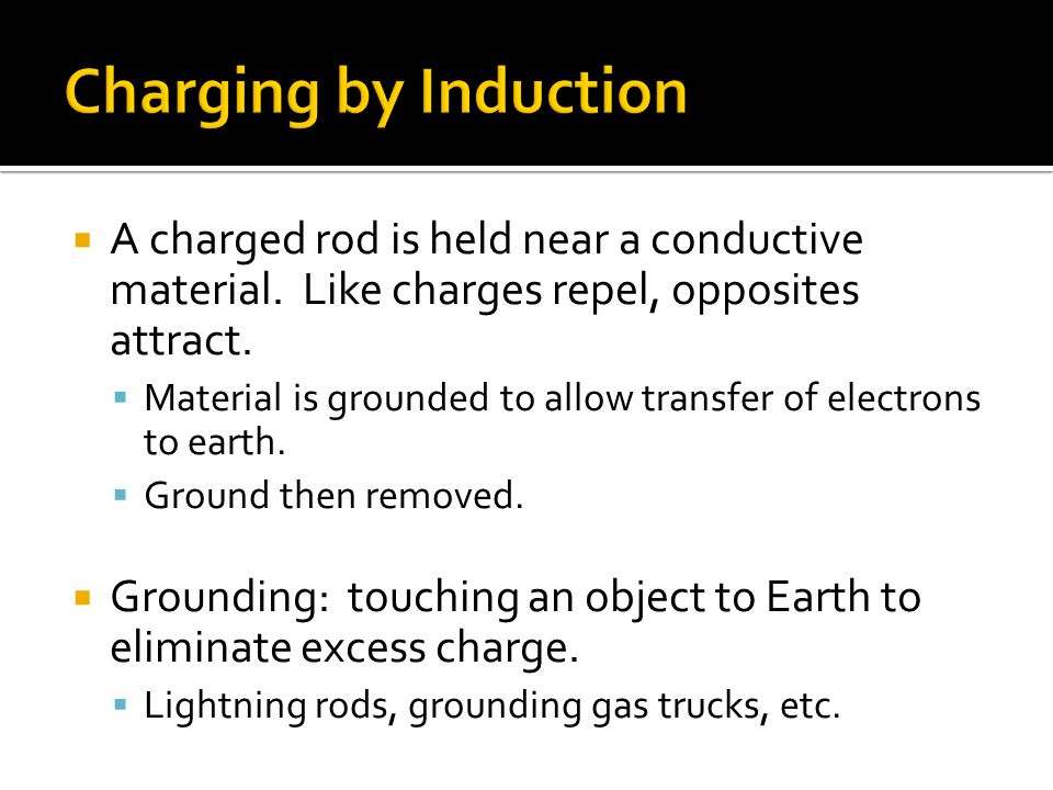  A charged rod is held near a conductive material. Like charges repel, opposites attract.  Material is grounded to allow transfer of electrons to ea