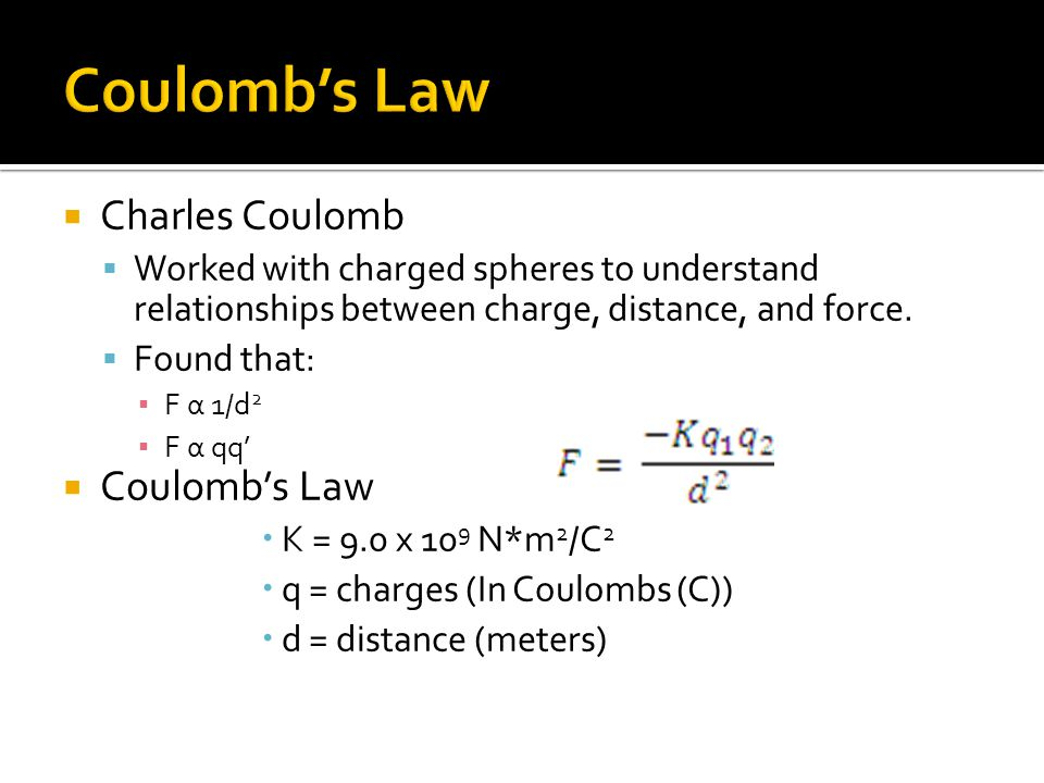  Charles Coulomb  Worked with charged spheres to understand relationships between charge, distance, and force.