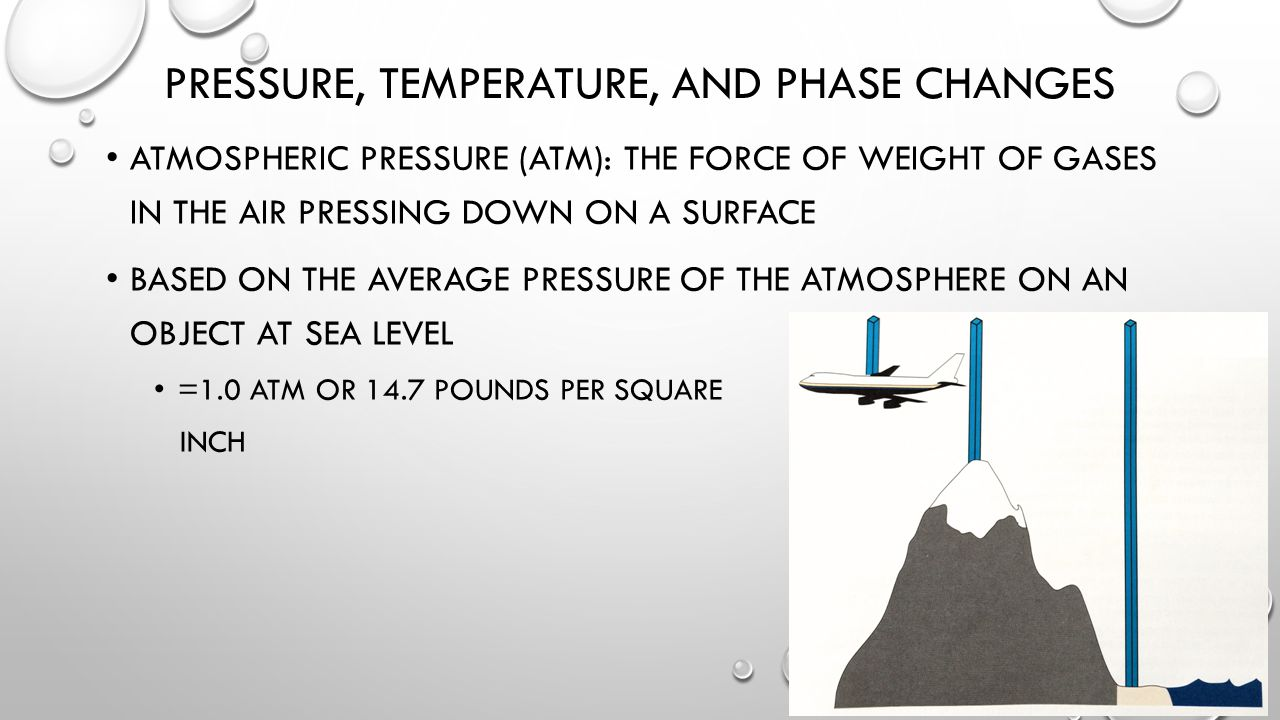 PRESSURE, TEMPERATURE, AND PHASE CHANGES ATMOSPHERIC PRESSURE (ATM): THE FORCE OF WEIGHT OF GASES IN THE AIR PRESSING DOWN ON A SURFACE BASED ON THE AVERAGE PRESSURE OF THE ATMOSPHERE ON AN OBJECT AT SEA LEVEL =1.0 ATM OR 14.7 POUNDS PER SQUARE INCH