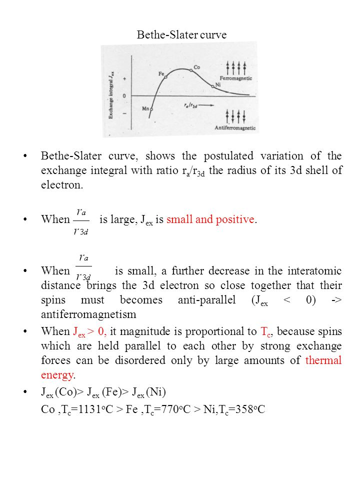 Bethe-Slater curve Bethe-Slater curve, shows the postulated variation of the exchange integral with ratio r a /r 3d the radius of its 3d shell of electron.