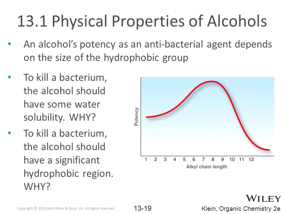 An alcohol's potency as an anti-bacterial agent depends on the size of the hydrophobic group 13.1 Physical Properties of Alcohols To kill a bacterium, the alcohol should have some water solubility.