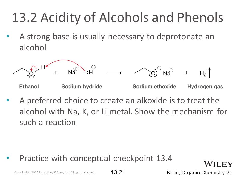 A strong base is usually necessary to deprotonate an alcohol A preferred choice to create an alkoxide is to treat the alcohol with Na, K, or Li metal.