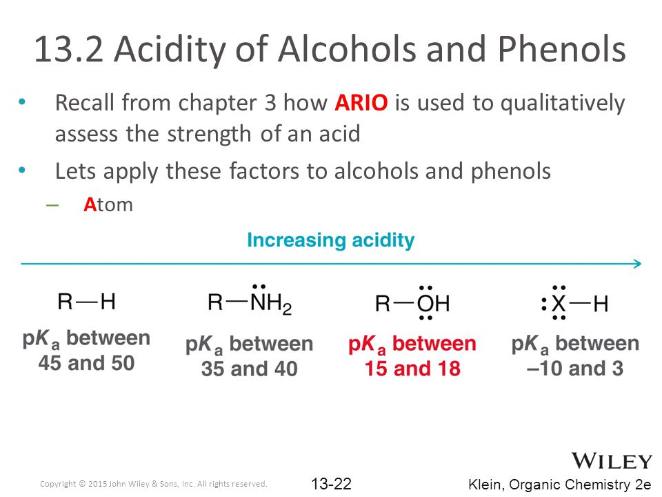 Recall from chapter 3 how ARIO is used to qualitatively assess the strength of an acid Lets apply these factors to alcohols and phenols – Atom 13.2 Acidity of Alcohols and Phenols Copyright © 2015 John Wiley & Sons, Inc.