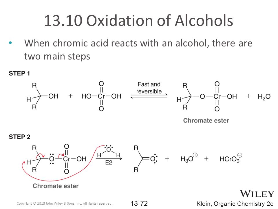 When chromic acid reacts with an alcohol, there are two main steps 13.10 Oxidation of Alcohols Copyright © 2015 John Wiley & Sons, Inc.