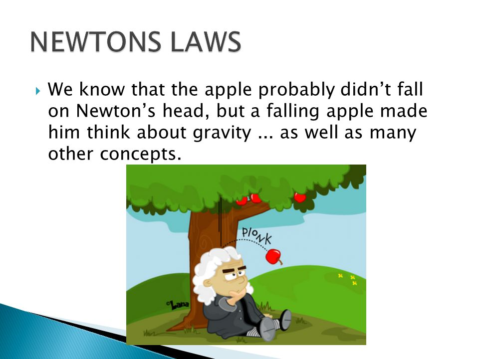  We know that the apple probably didn't fall on Newton's head, but a falling apple made him think about gravity...