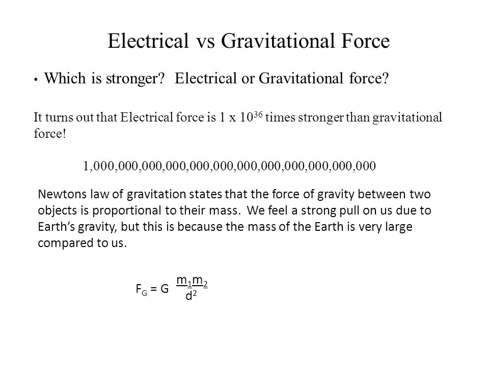 Electrical vs Gravitational Force Which is stronger.