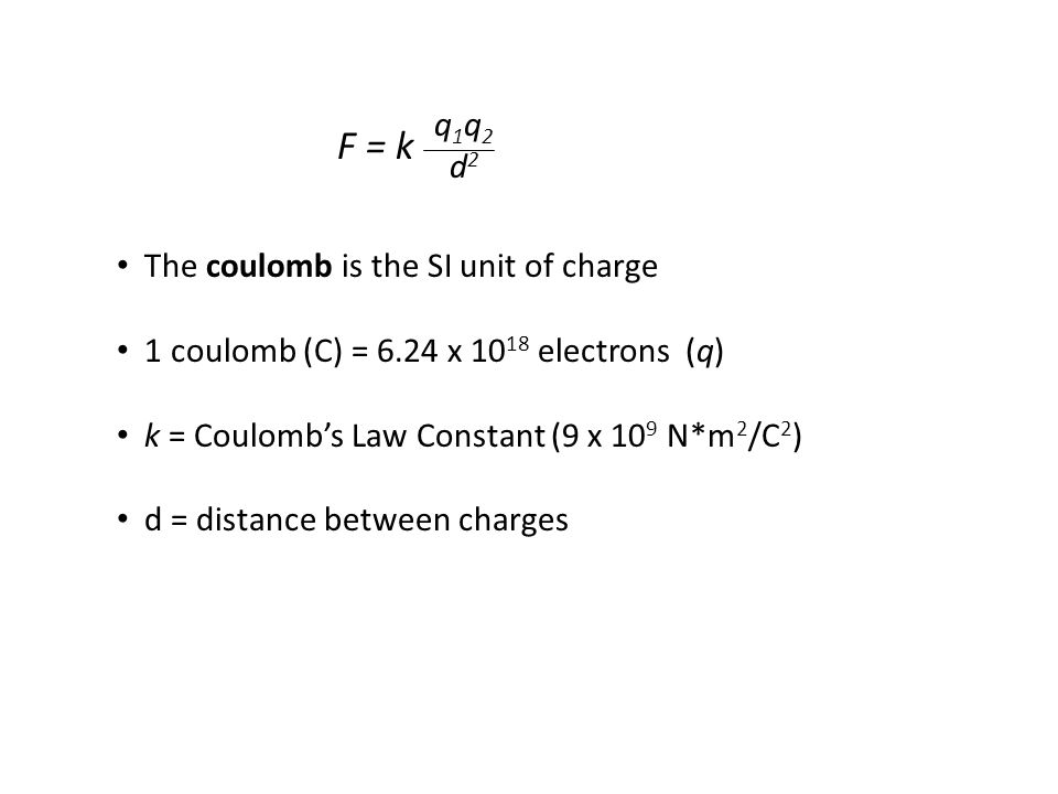 The coulomb is the SI unit of charge 1 coulomb (C) = 6.24 x 10 18 electrons (q) k = Coulomb's Law Constant (9 x 10 9 N*m 2 /C 2 ) d = distance between charges q 1 q 2 d 2 F = k