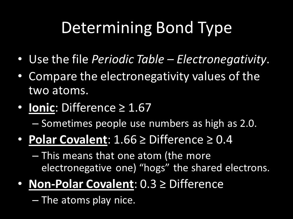 Determining Bond Type Use the file Periodic Table – Electronegativity. Compare the electronegativity values of the two atoms. Ionic: Difference ≥ 1.67