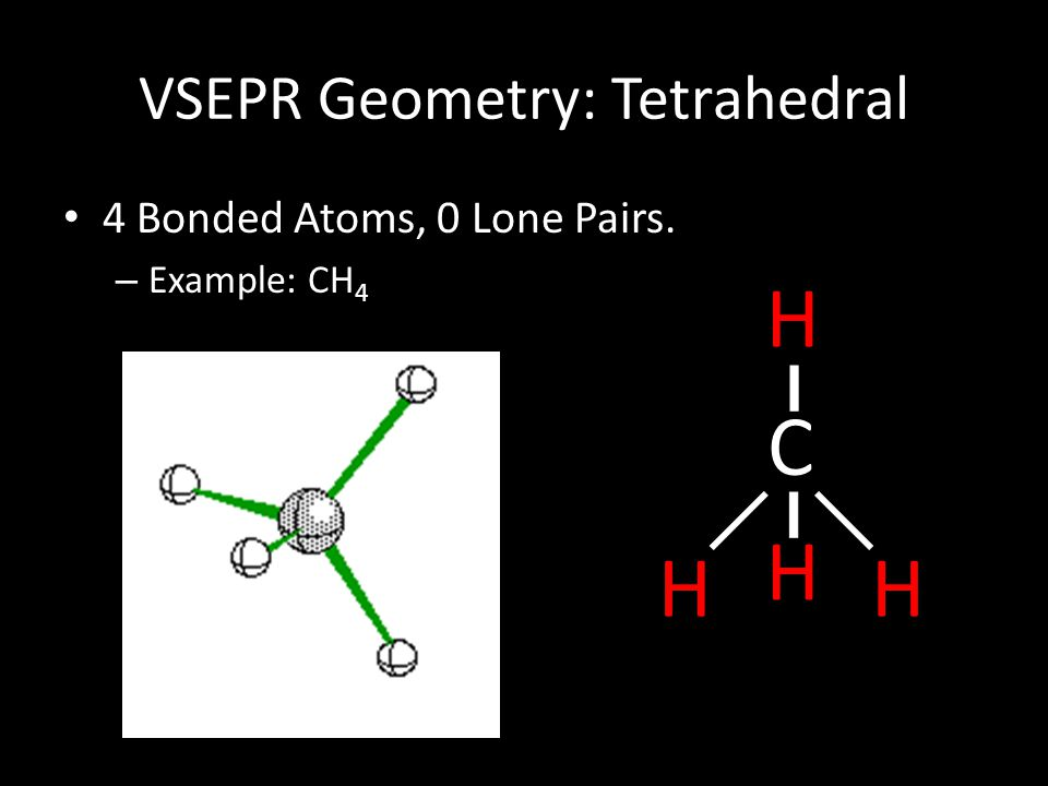 VSEPR Geometry: Tetrahedral 4 Bonded Atoms, 0 Lone Pairs. – Example: CH 4 C HH H H
