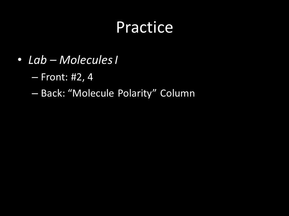 "Practice Lab – Molecules I – Front: #2, 4 – Back: ""Molecule Polarity"" Column"