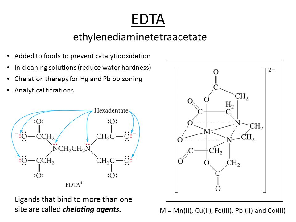 EDTA ethylenediaminetetraacetate Ligands that bind to more than one site are called chelating agents.