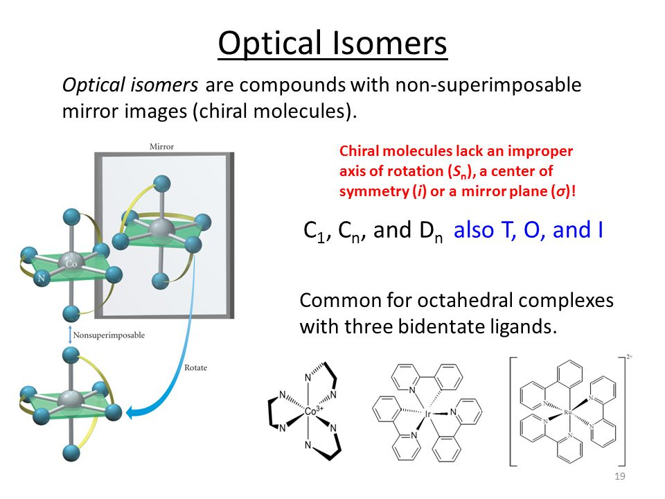 Optical Isomers Optical isomers are compounds with non-superimposable mirror images (chiral molecules).