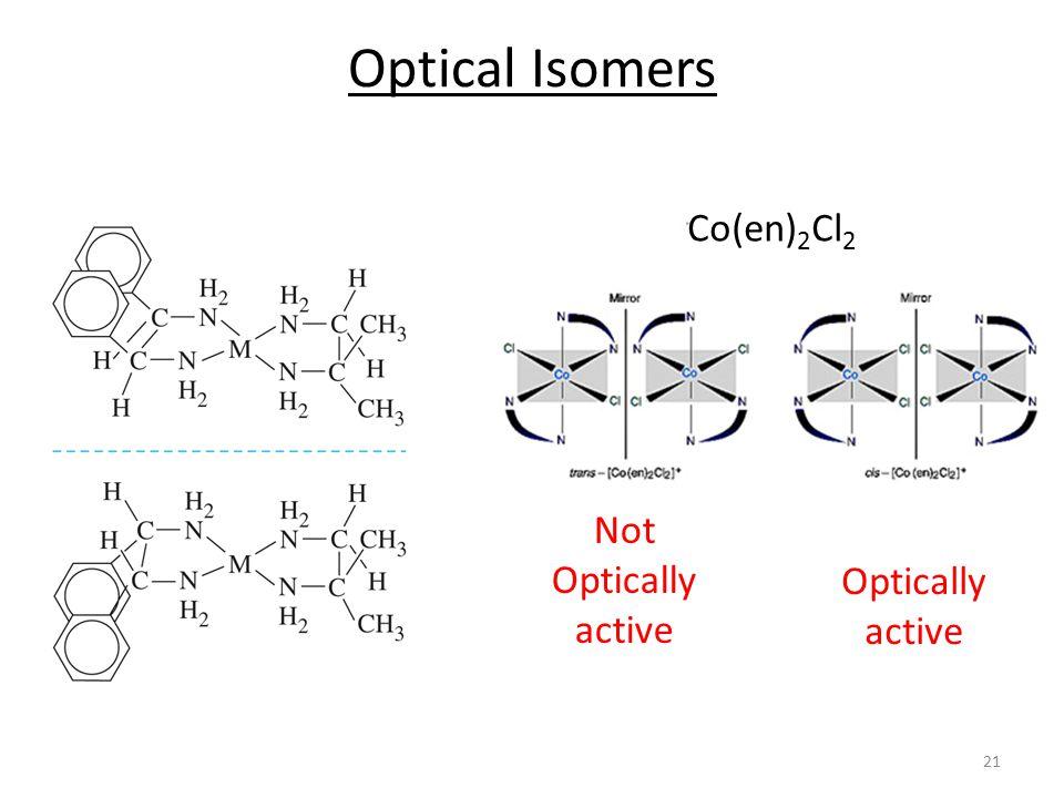 Optical Isomers Co(en) 2 Cl 2 Not Optically active Optically active 21