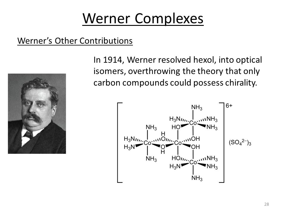 Werner's Other Contributions Werner Complexes In 1914, Werner resolved hexol, into optical isomers, overthrowing the theory that only carbon compounds could possess chirality.