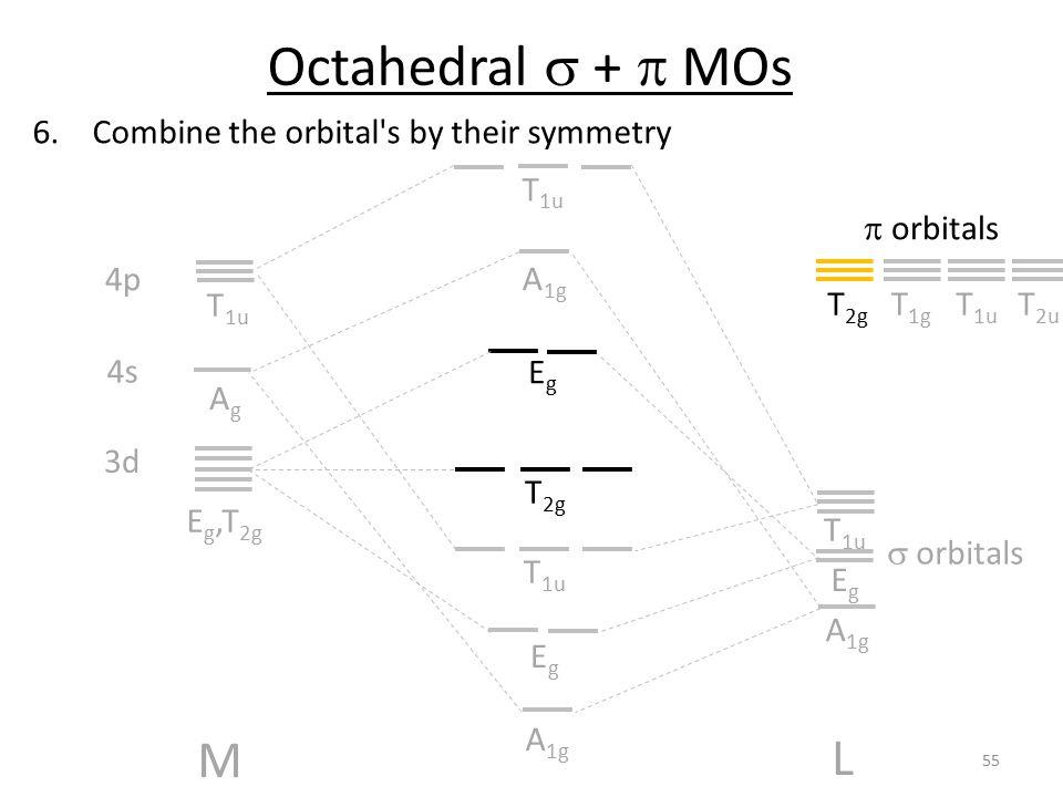 6.Combine the orbital's by their symmetry M L AgAg T 1u 4s 4p EgEg T 1u A 1g EgEg 3d E g,T 2g EgEg T 2g T 1u A 1g T 1u Octahedral  +  MOs  orbitals
