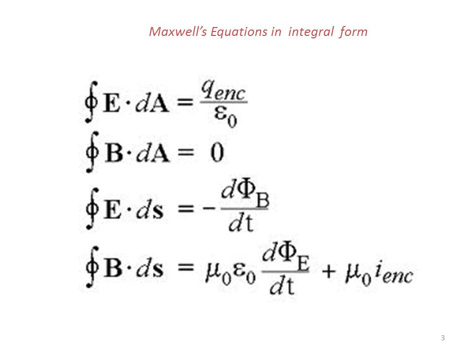 Maxwell's Equations in integral form 3