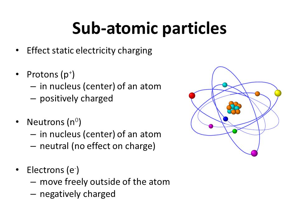 Sub-atomic particles Effect static electricity charging Protons (p + ) – in nucleus (center) of an atom – positively charged Neutrons (n 0 ) – in nucl