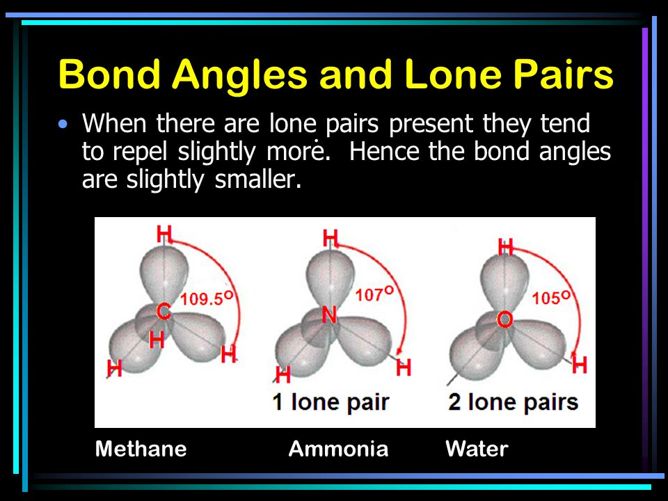 Bond Angles and Lone Pairs When there are lone pairs present they tend to repel slightly more.