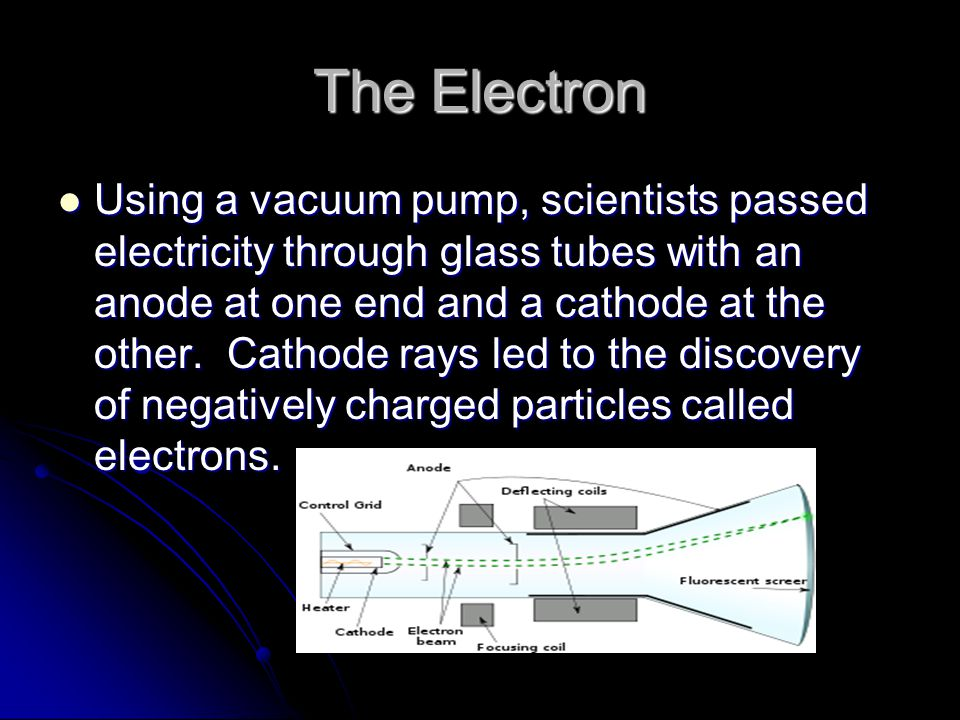 The Electron Using a vacuum pump, scientists passed electricity through glass tubes with an anode at one end and a cathode at the other.